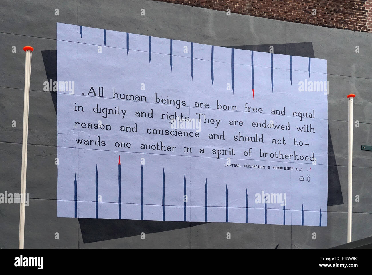 Mural from art.1 Universal Declaration of Human Rights - Stock Image