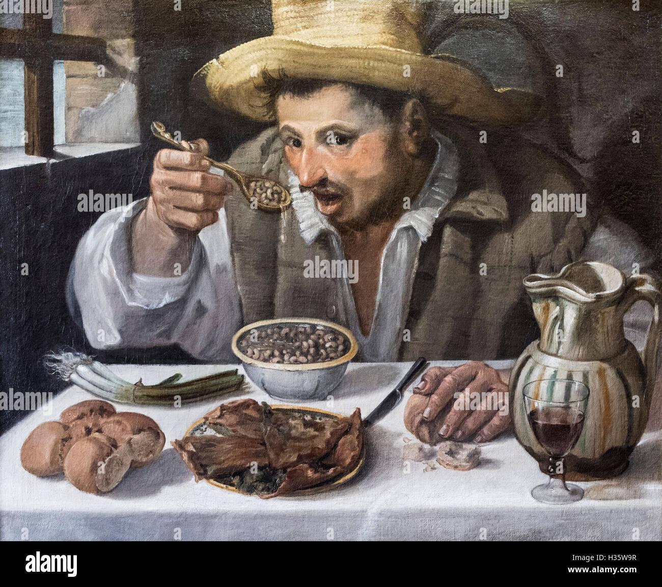 Annibale Carracci (1560-1609), The Bean Eater (Il Mangiafagioli), 1580-1590. - Stock Image