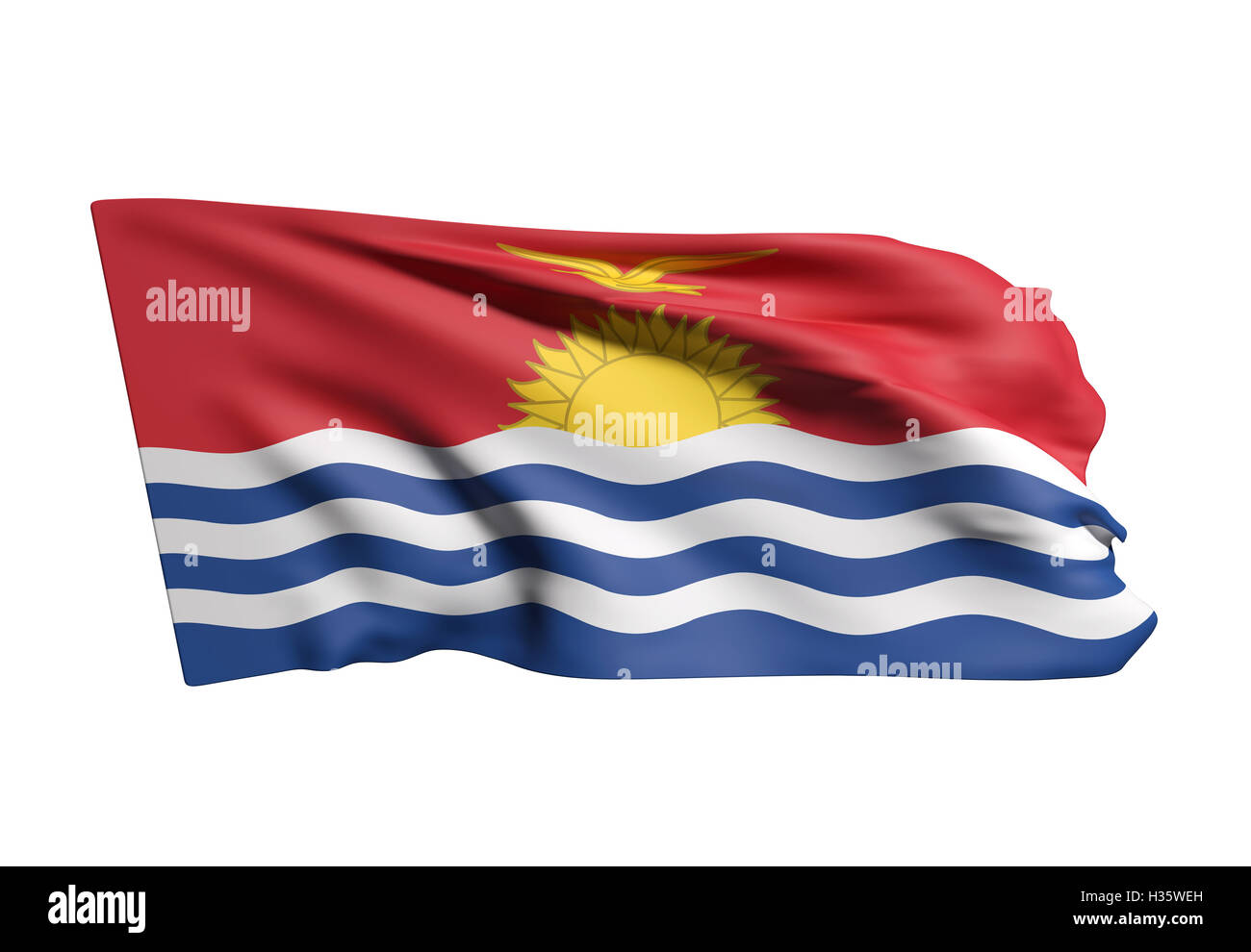 3d rendering of  Republic of Kiribati flag waving on white background - Stock Image