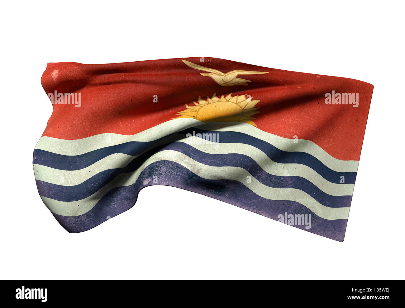 3d rendering of an old Republic of Kiribati flag waving on white background - Stock Image