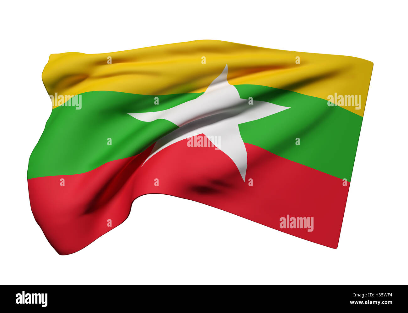 3d rendering of Republic of the Union of Myanmar flag waving on white background - Stock Image