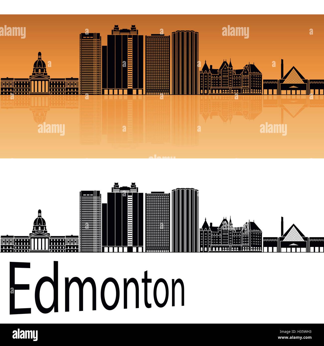 Edmonton V2 skyline in orange background in editable vector file - Stock Image