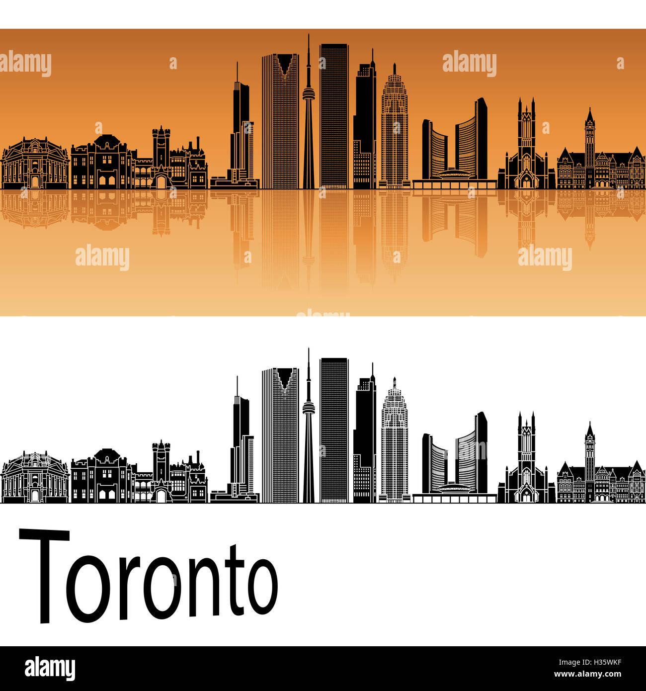 Toronto V2 skyline in orange background in editable vector file - Stock Image