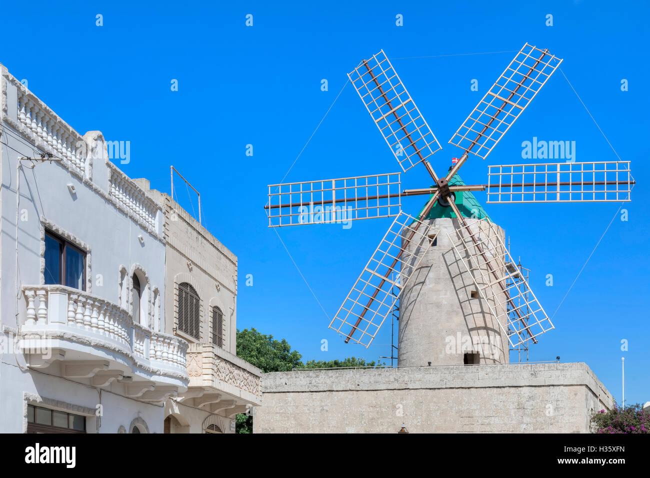 Ta Kola, Windmill, Xaghra, Gozo, Malta - Stock Image