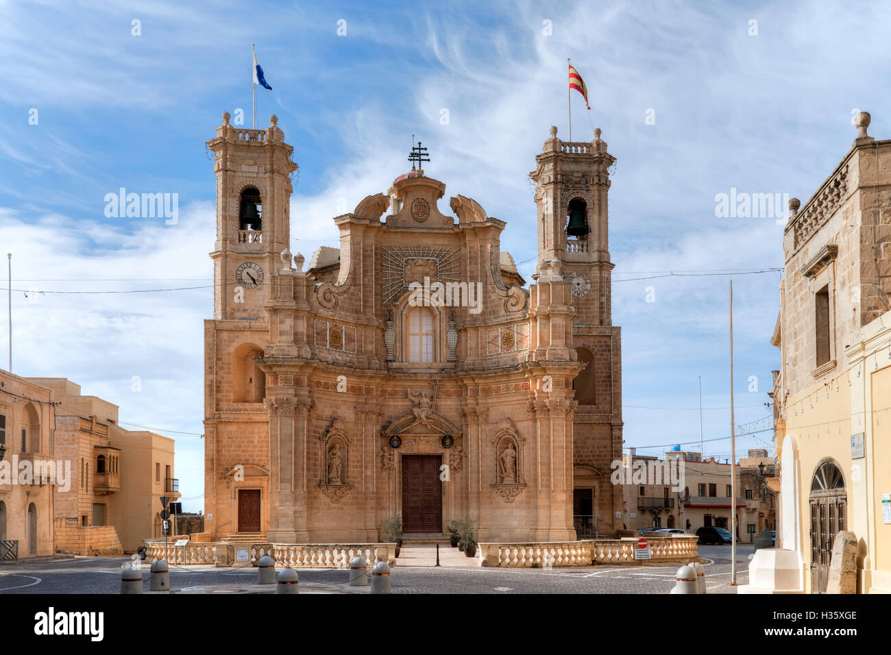 Parish Church in Gharb, Gozo, Malta - Stock Image