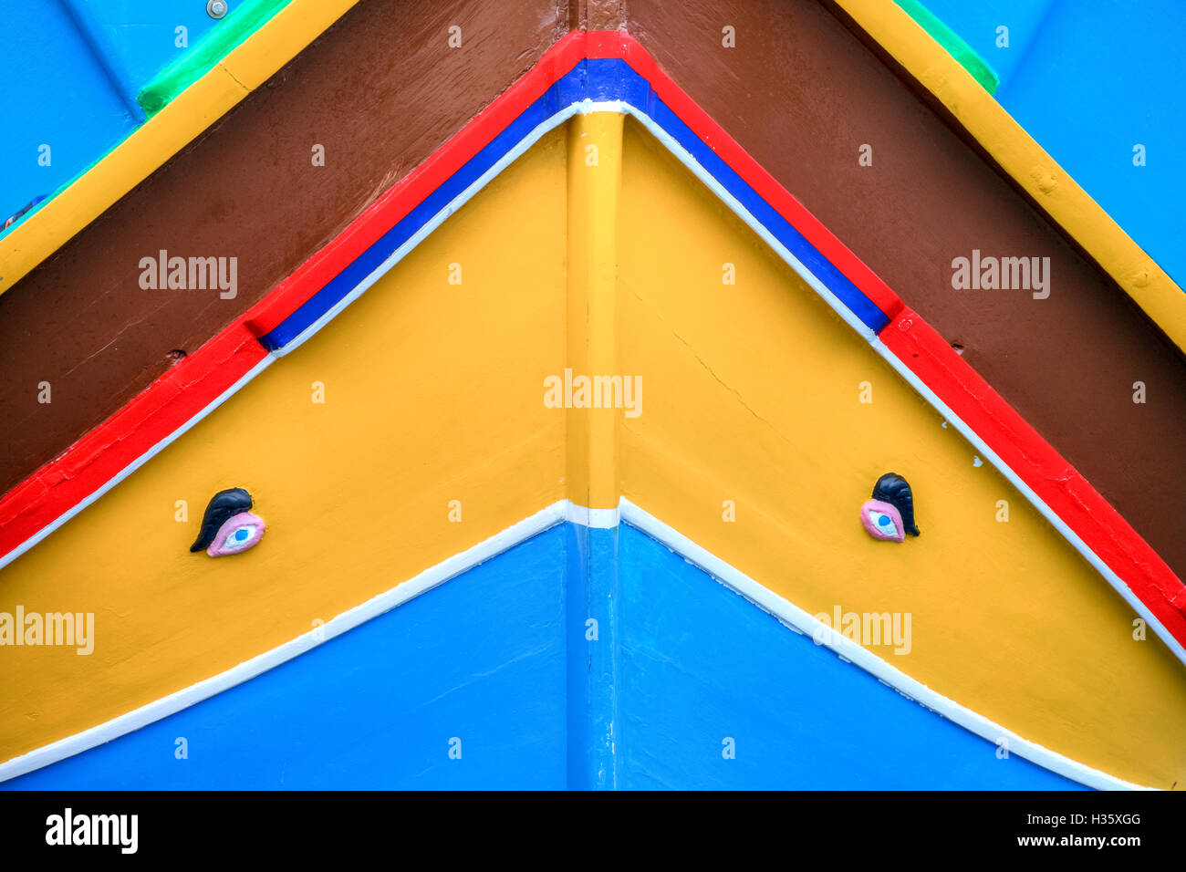 Bow of traditional Maltese fishing boat called Luzzu, with the Eye of Horus or Osiris - Stock Image