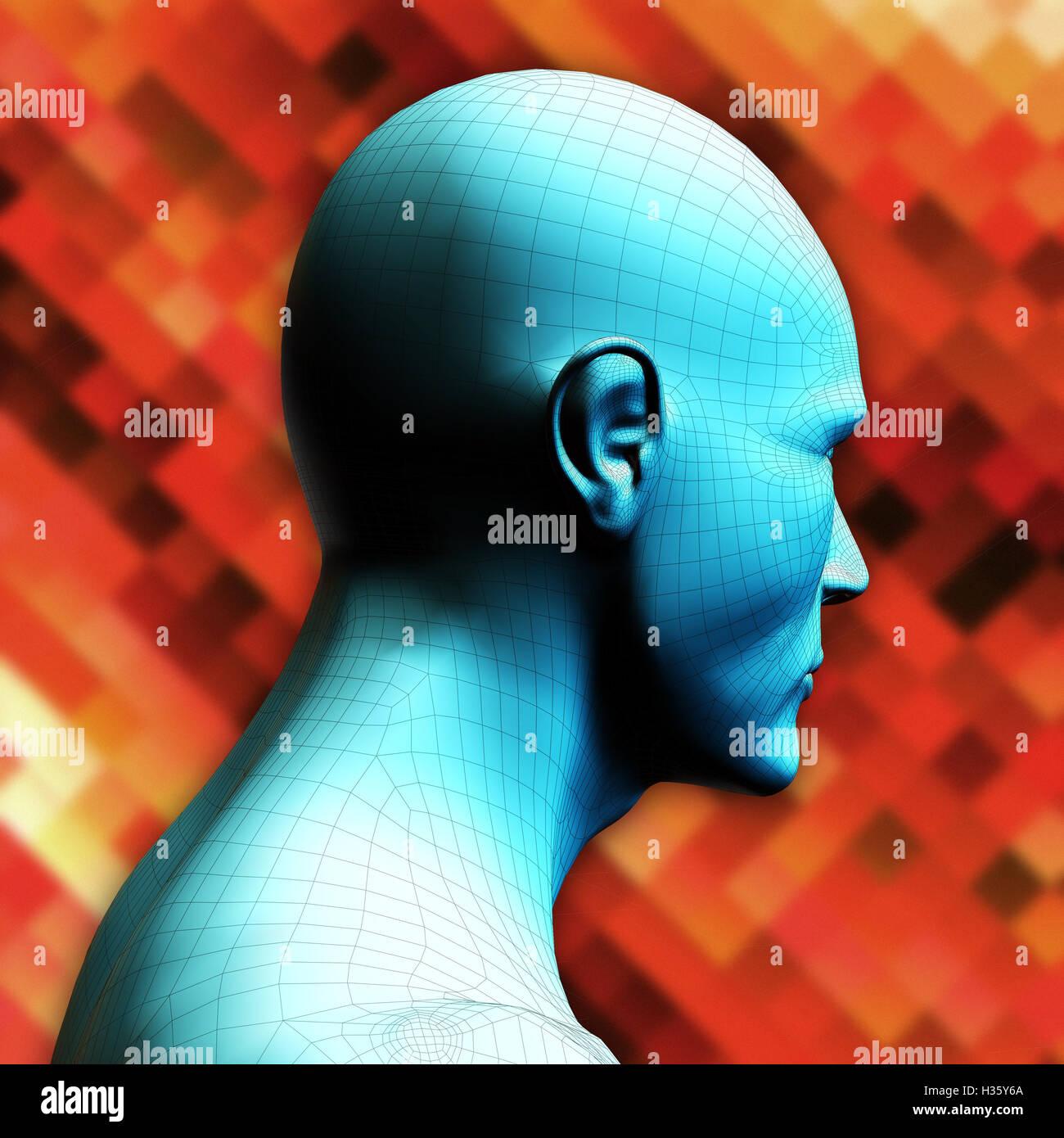 humanoid head - Stock Image
