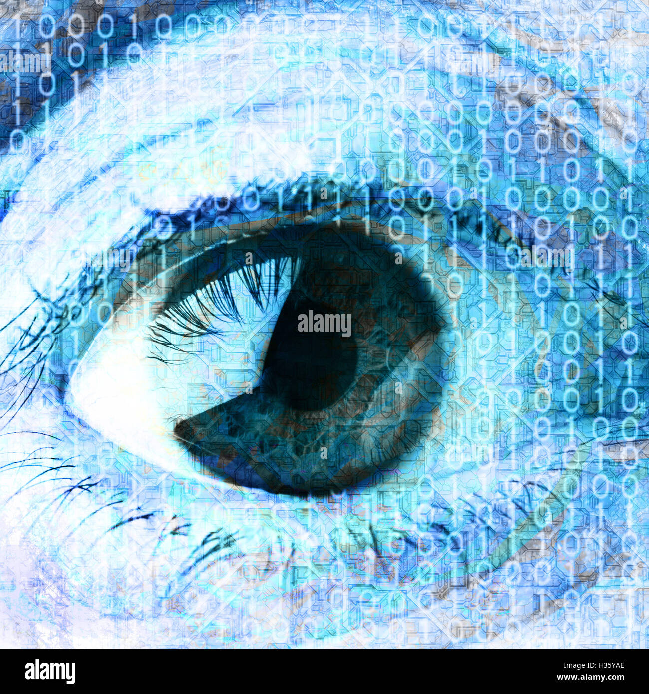 eye and binary digits - Stock Image