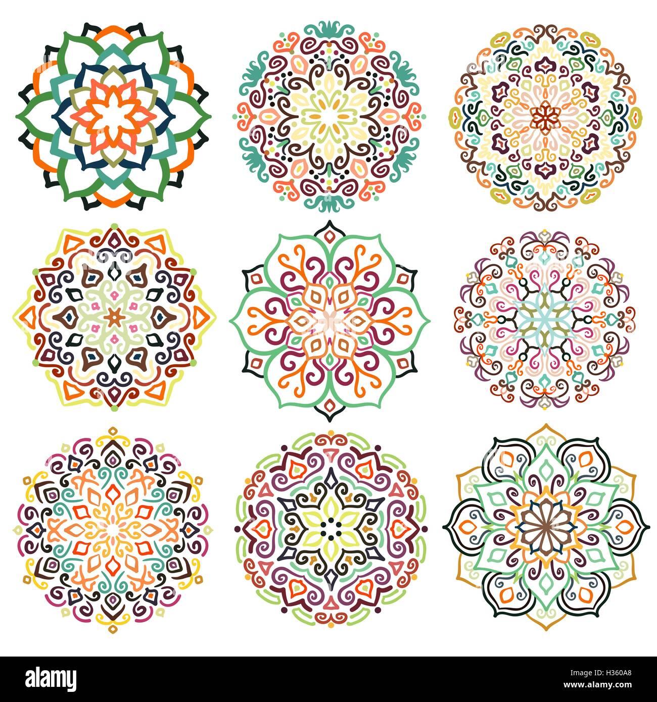 Flower Round Ornament Mandala Set - Stock Image