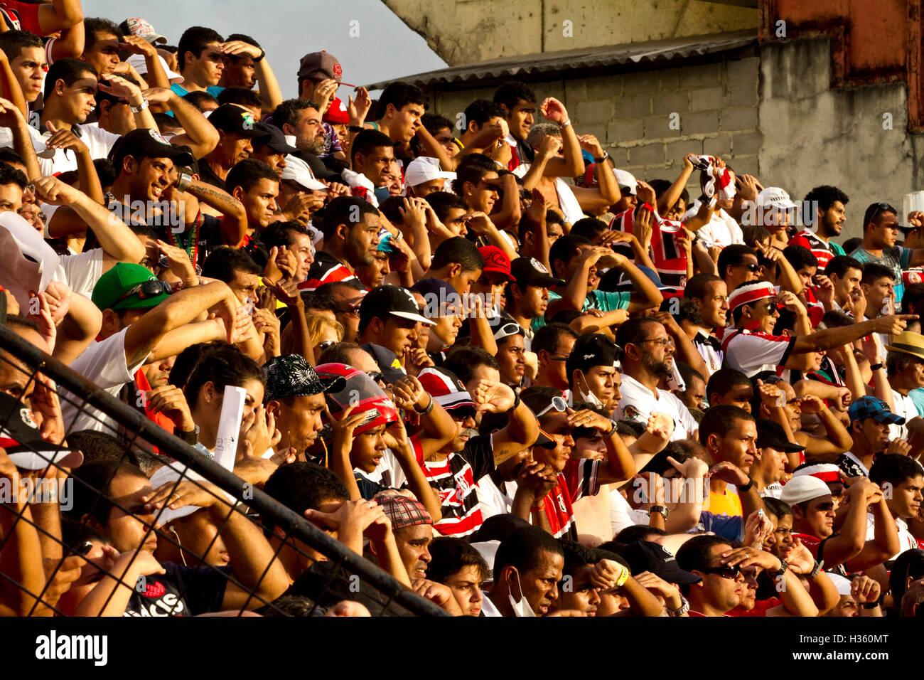 Soccer fans in Recife, Pernambuco, Brazil - Stock Image