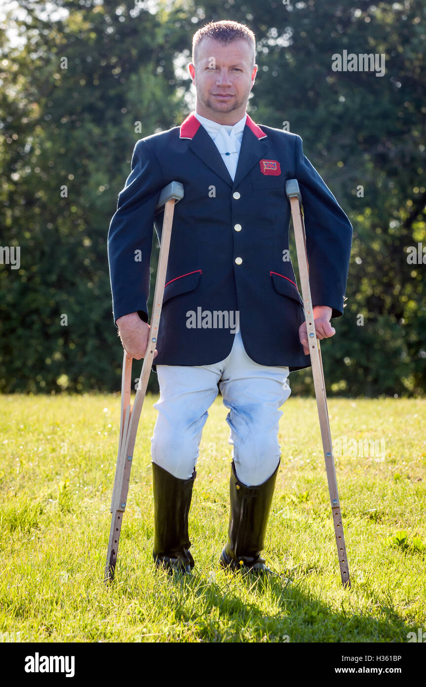 Lee Pearson, paralympian dressage competitor, at Hickstead Showground in West Sussex. - Stock Image