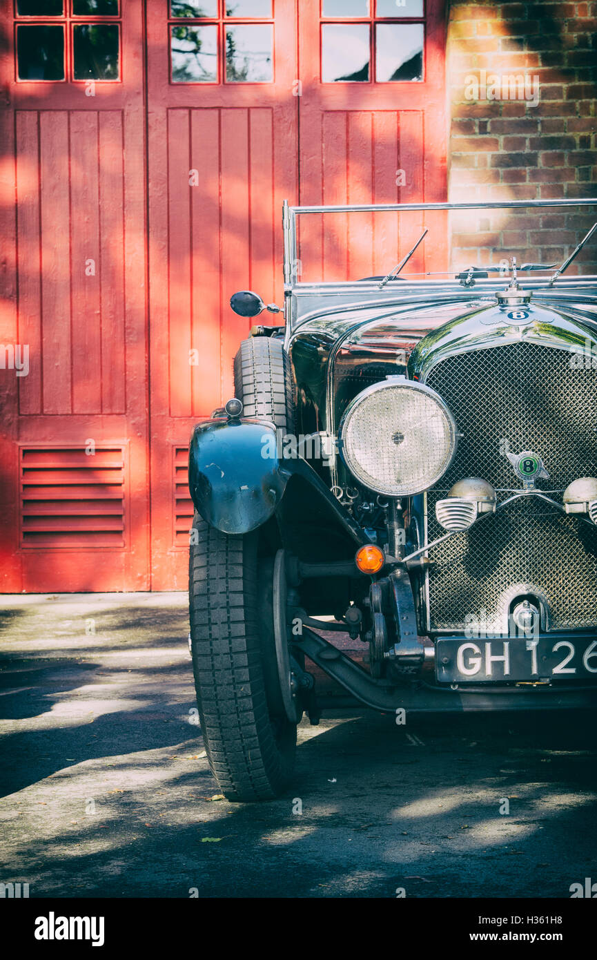 Vintage 1930 Bentley car at Bicester Heritage Centre. Oxfordshire, England. Vintage filter applied - Stock Image