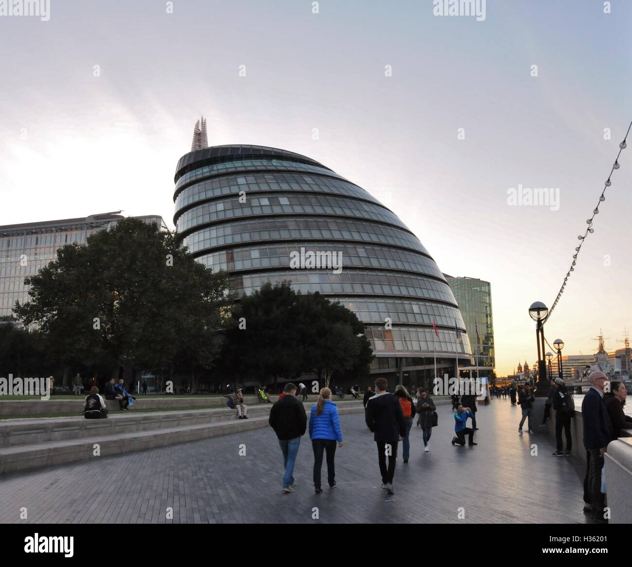 A view of London's City Hall, from the Thames Path. - Stock Image