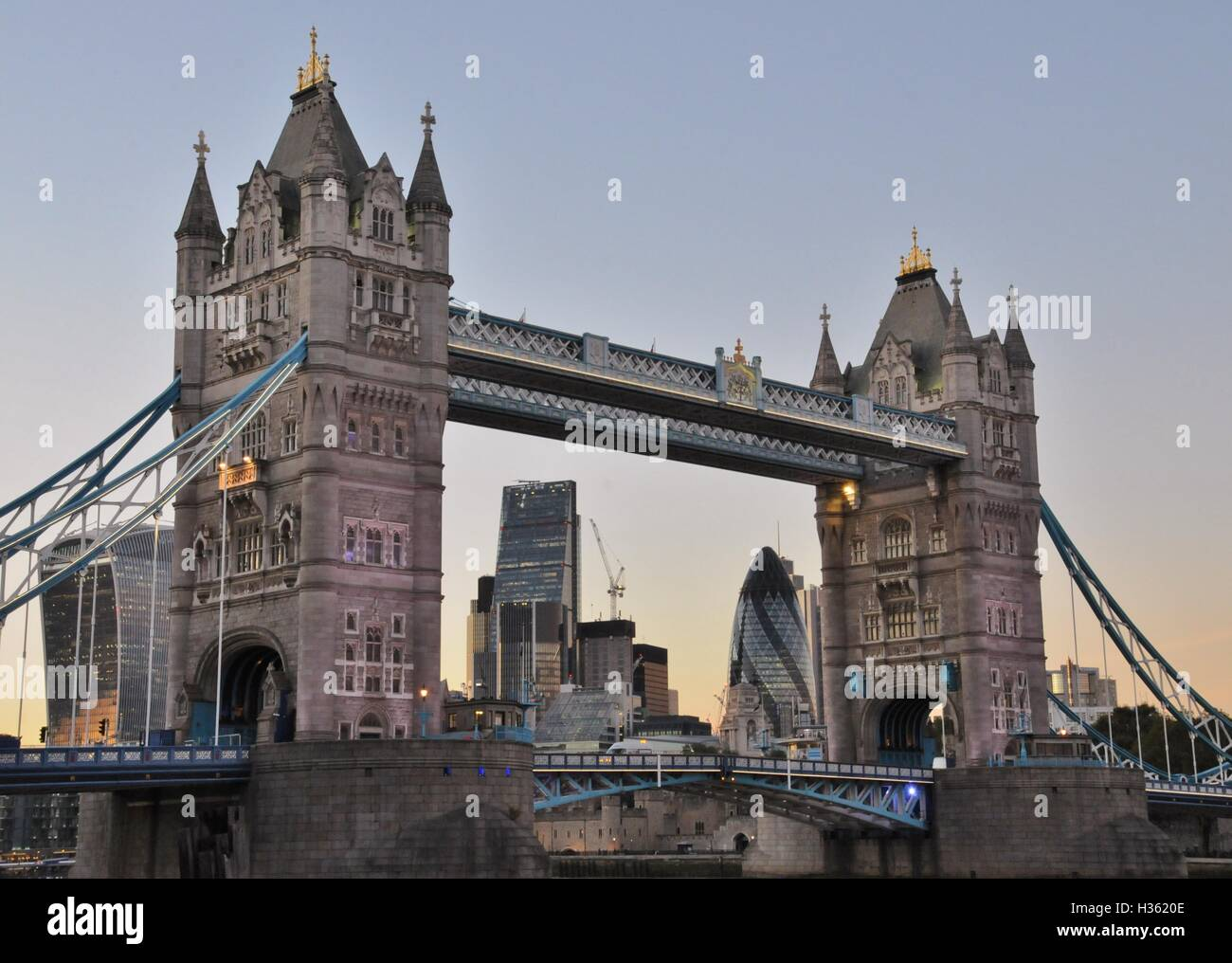 London's Tower Bridge and modern London. - Stock Image
