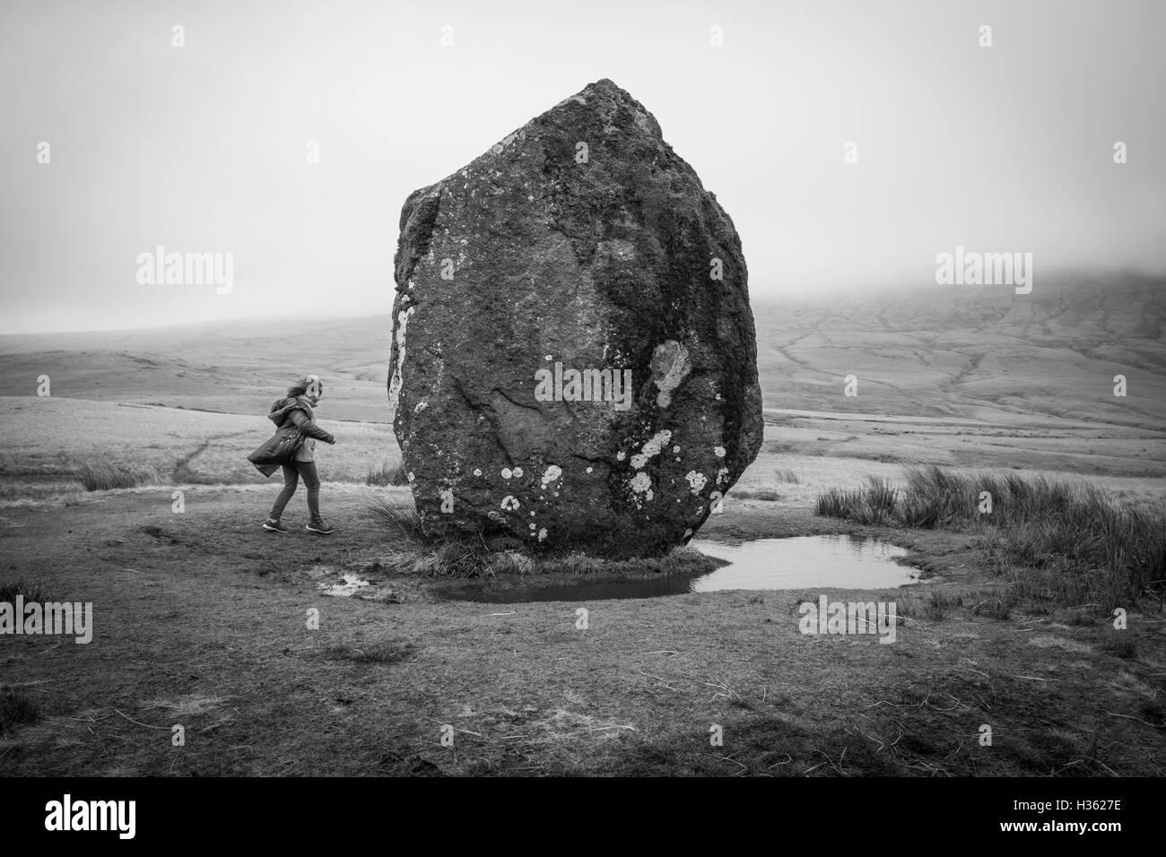 Maen Llia standing stone near Brecon - Stock Image