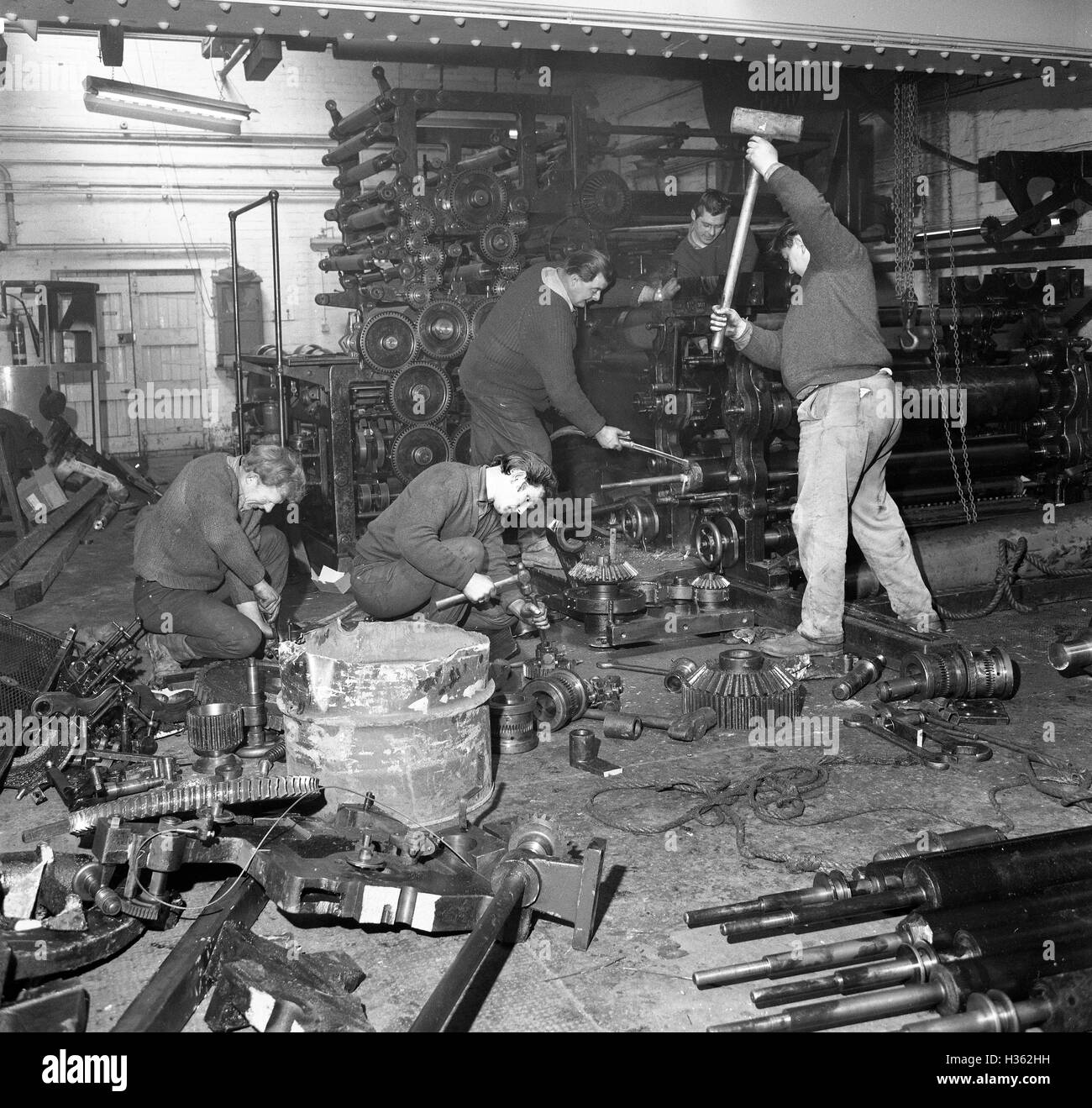 Scrap Metal Merchants Smashing Breaking Up Old Newspaper Printing Press Presses In 1960s Uk James Rollason Dismantling The Wellington