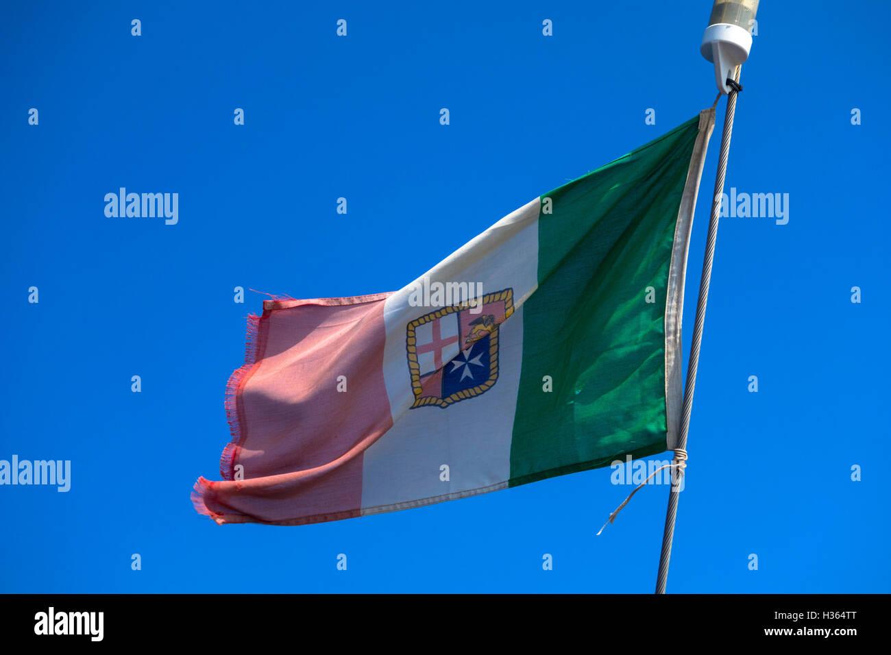 Italian ship flag - Stock Image
