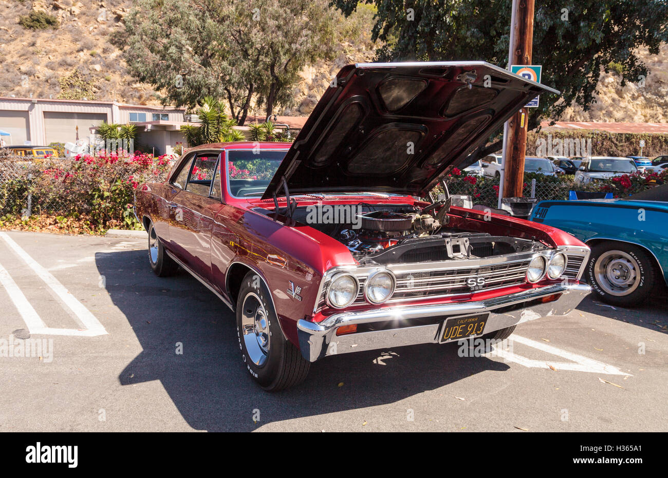 Laguna Beach Ca Usa October 2 2016 Red 1967 Chevy Chevelle Ss