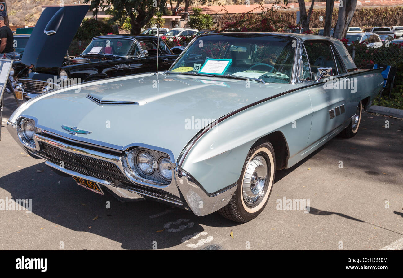 Laguna Beach Ca Usa October 2 2016 Silver 1963 Ford 1941 Opera Coupe Thunderbird Owned By Bill Waldmann And Displayed At The Rotary Club Of