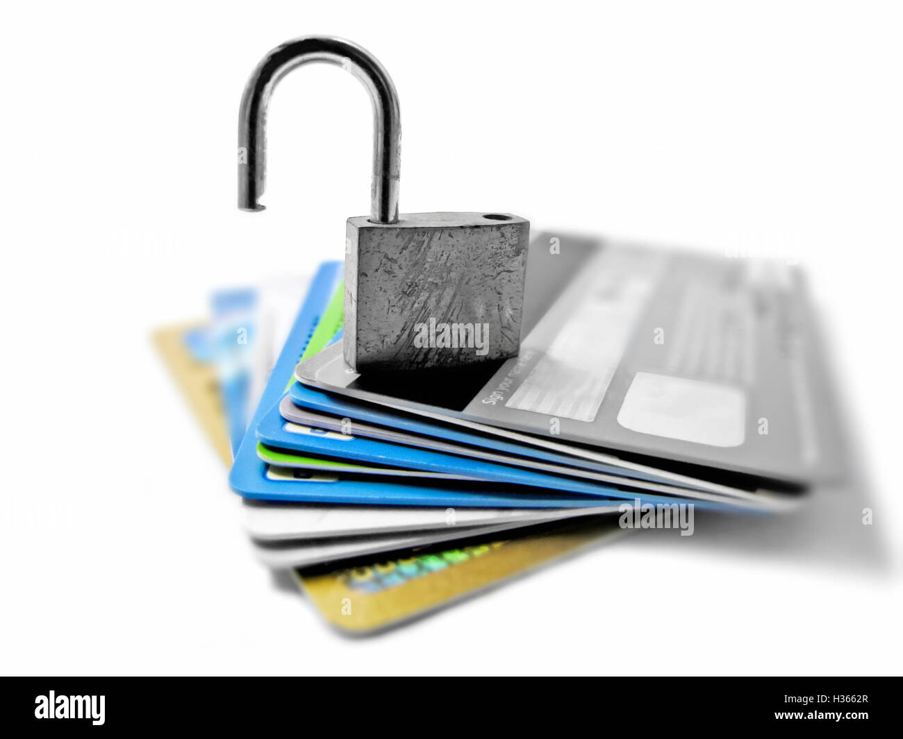 Hacked and vulnerable unsafe unsecured identity and financial theft concept - Stock Image