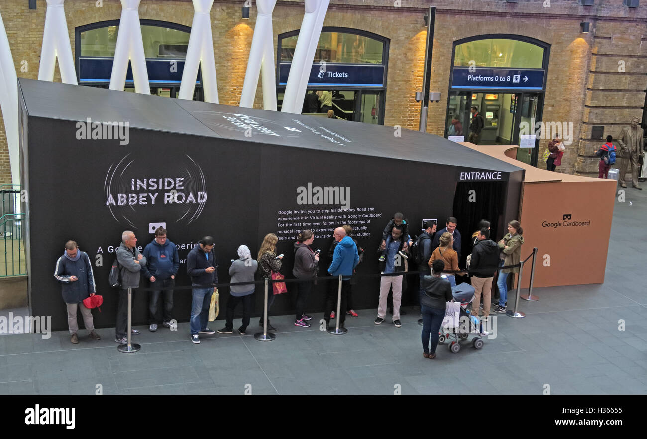 Google Cardboard promote the Daydream Inside Abbey Road App at Kings Cross Station, London Stock Photo