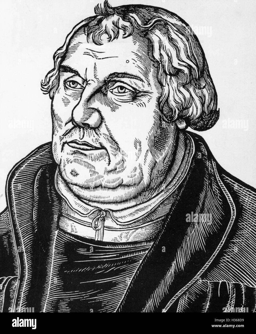 Woodcut of Martin Luther by Lucas Cranach - Stock Image