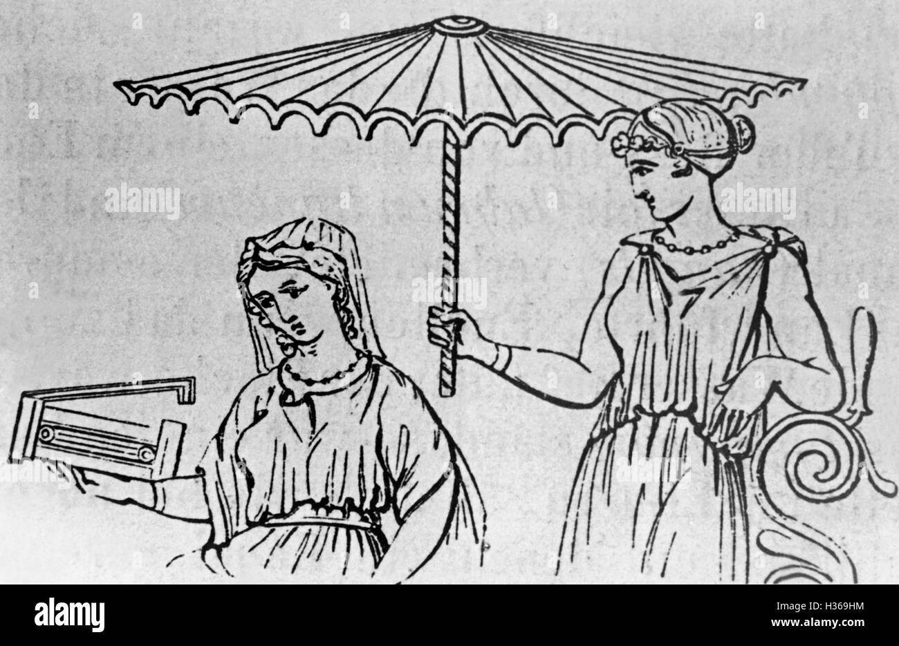 Umbrellas in the ancient times - Stock Image