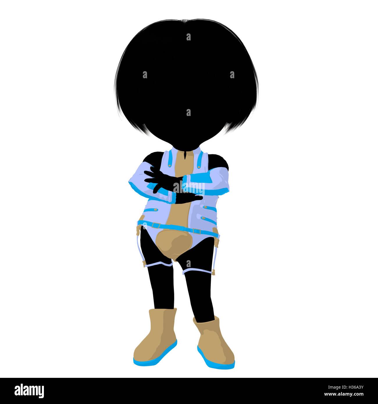 Little Sci Fi Girl Illustration Silhouette - Stock Image