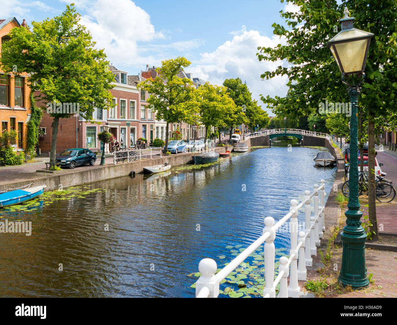 Rapenburg canal in old town of Leiden, South Holland, Netherlands Stock Photo