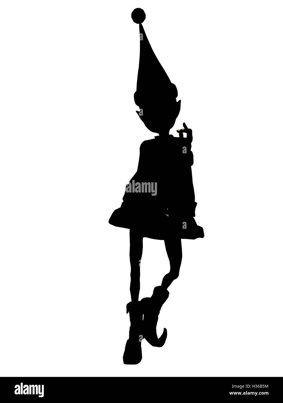 Christmas Elf Silhouette Illustration - Stock Image