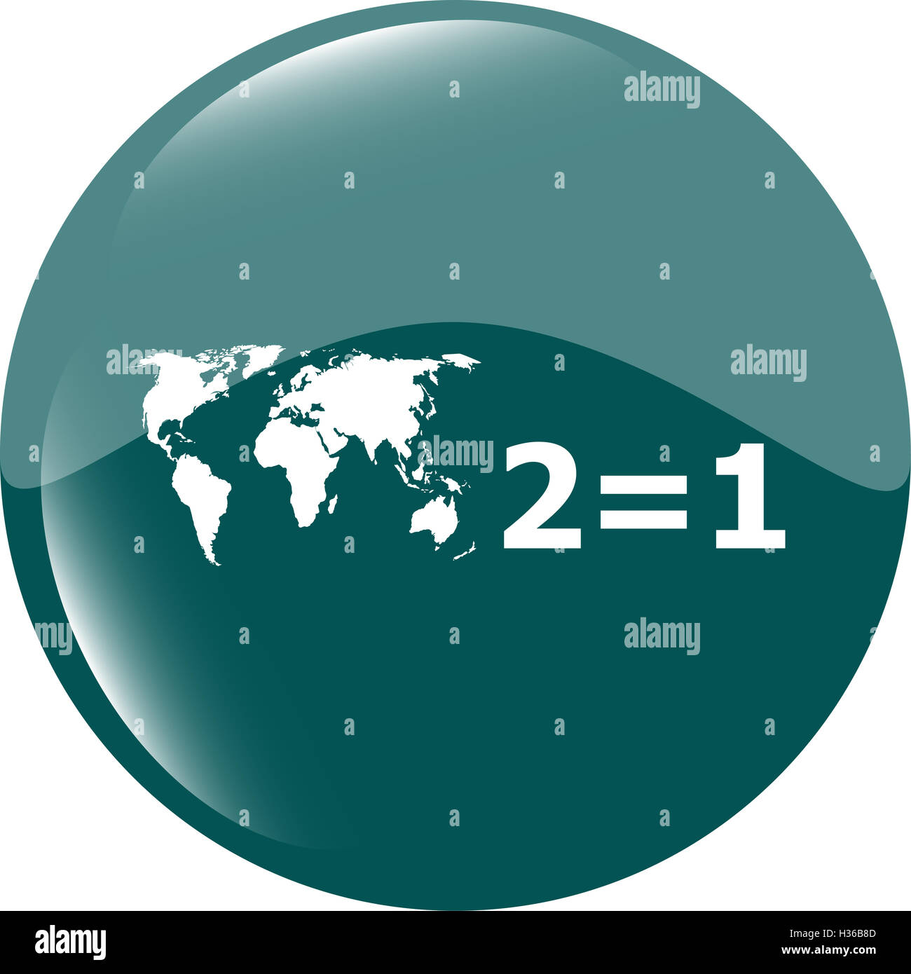 Two for one sign icon. Take two pay for one sale button. 2 equals 1 Stock Photo