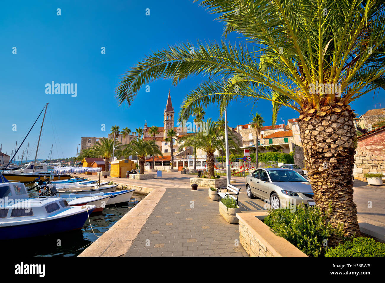 Town of Milna on Brac island waterfront view, Dalmatia, Croatia - Stock Image