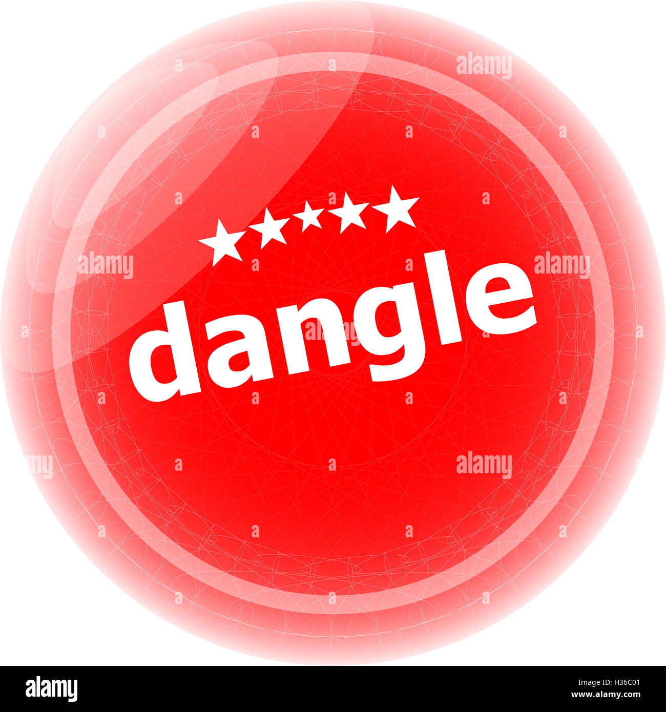dangle word on red web button, label, icon - Stock Image