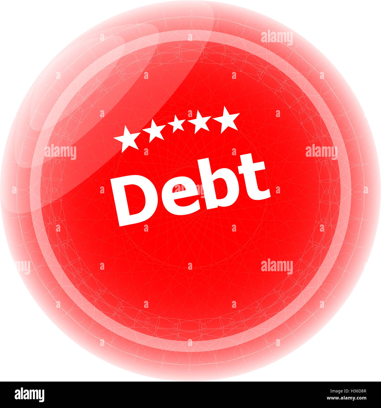 debt word on red stickers button, business label - Stock Image