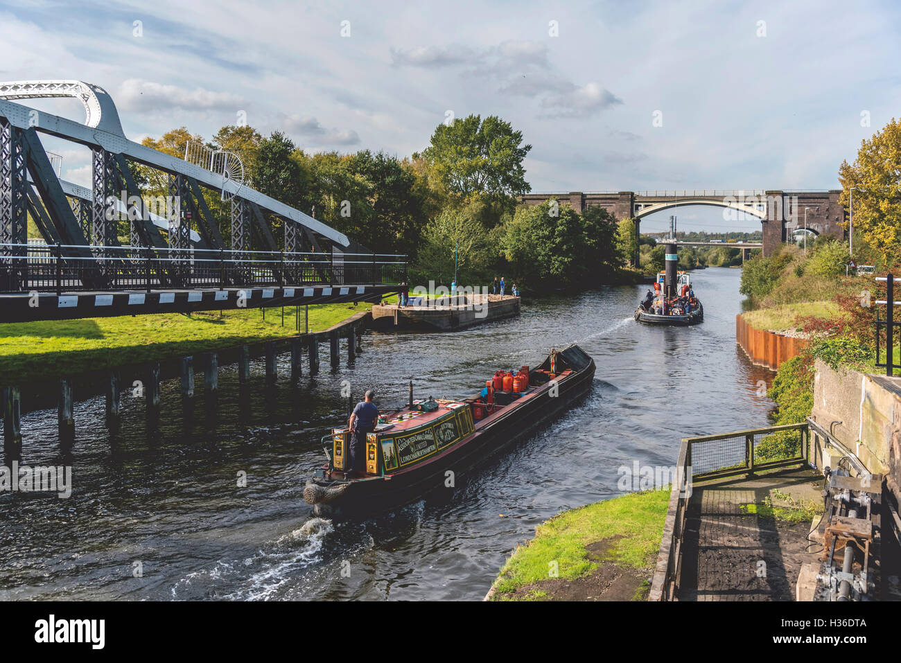 Steam tug Kerne pictured in the river Weaver at Sutton Weaver. West Cheshire. North West England. - Stock Image