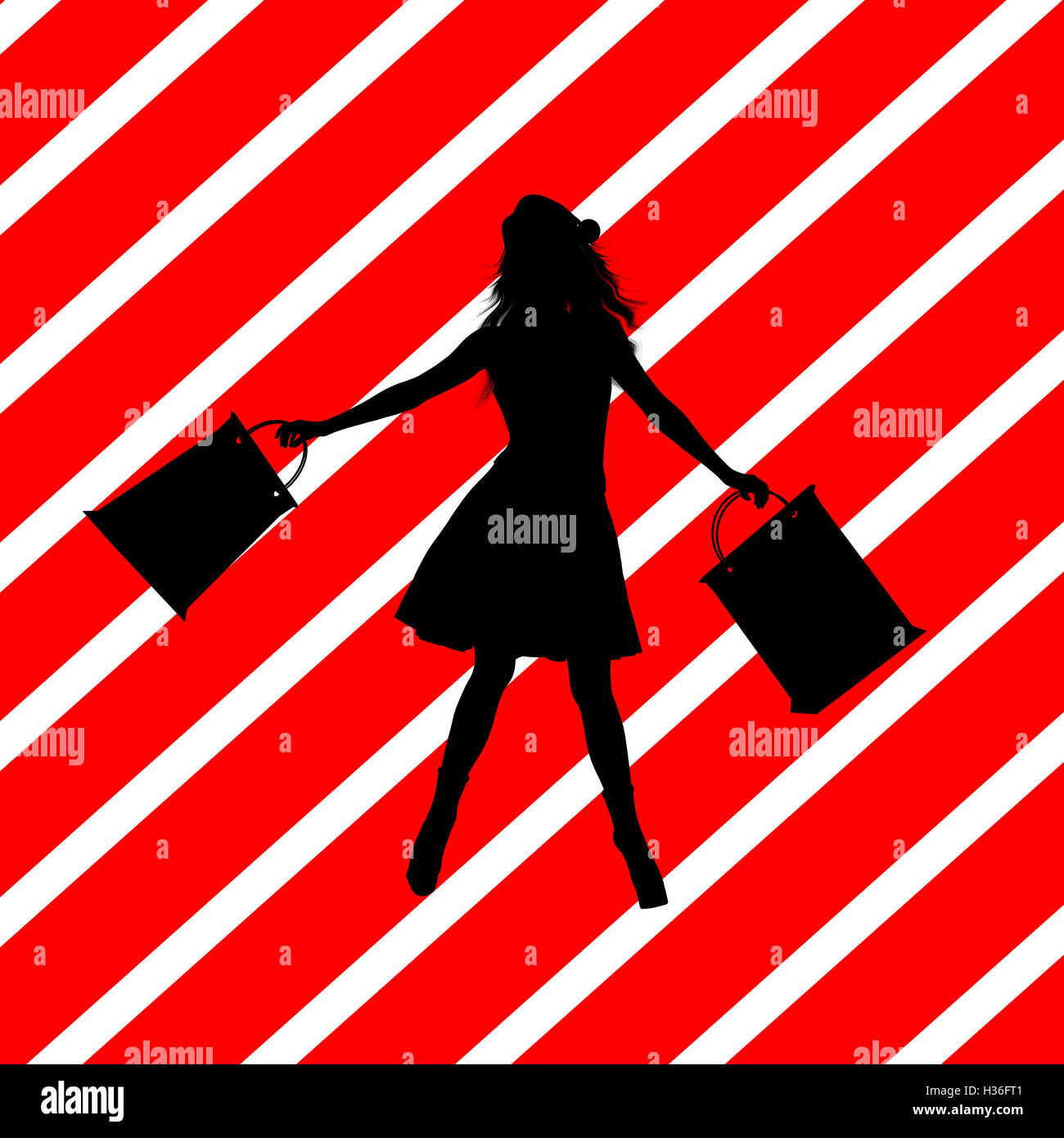 Christmas Shopping Silhouette Illustration - Stock Image