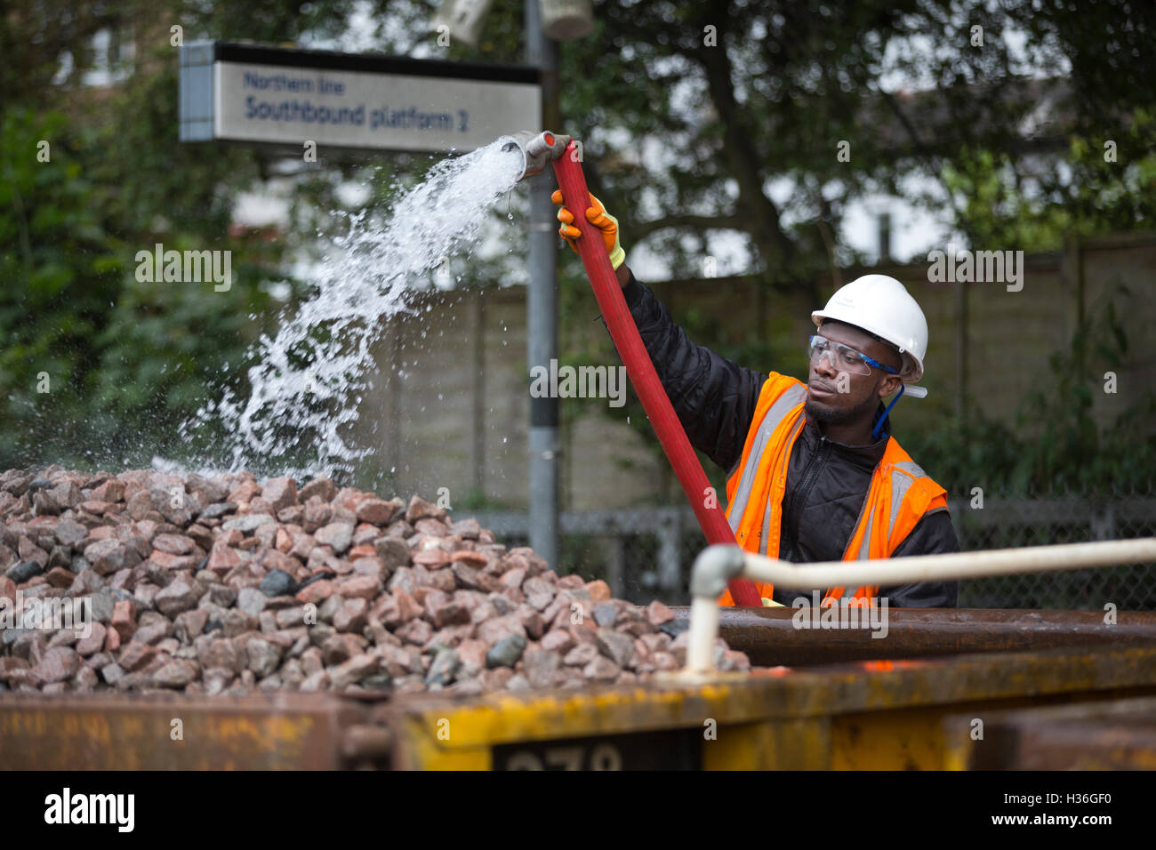 London Underground engineers working on Northern Line track replacement, London Underground rail track, London, - Stock Image