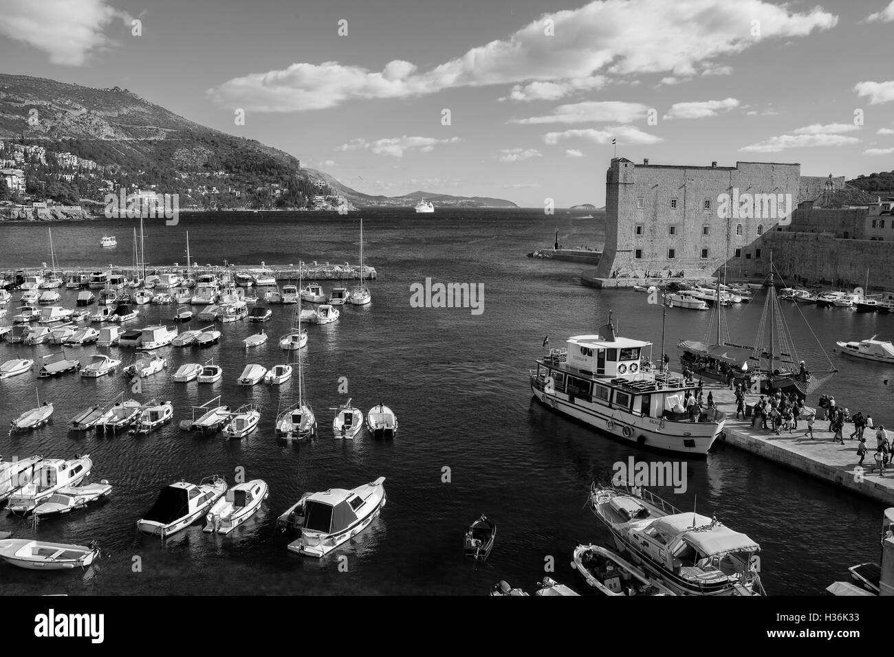 Old Harbour from the Arsenal, Dubrovnik, Croatia, Black and white version. - Stock Image