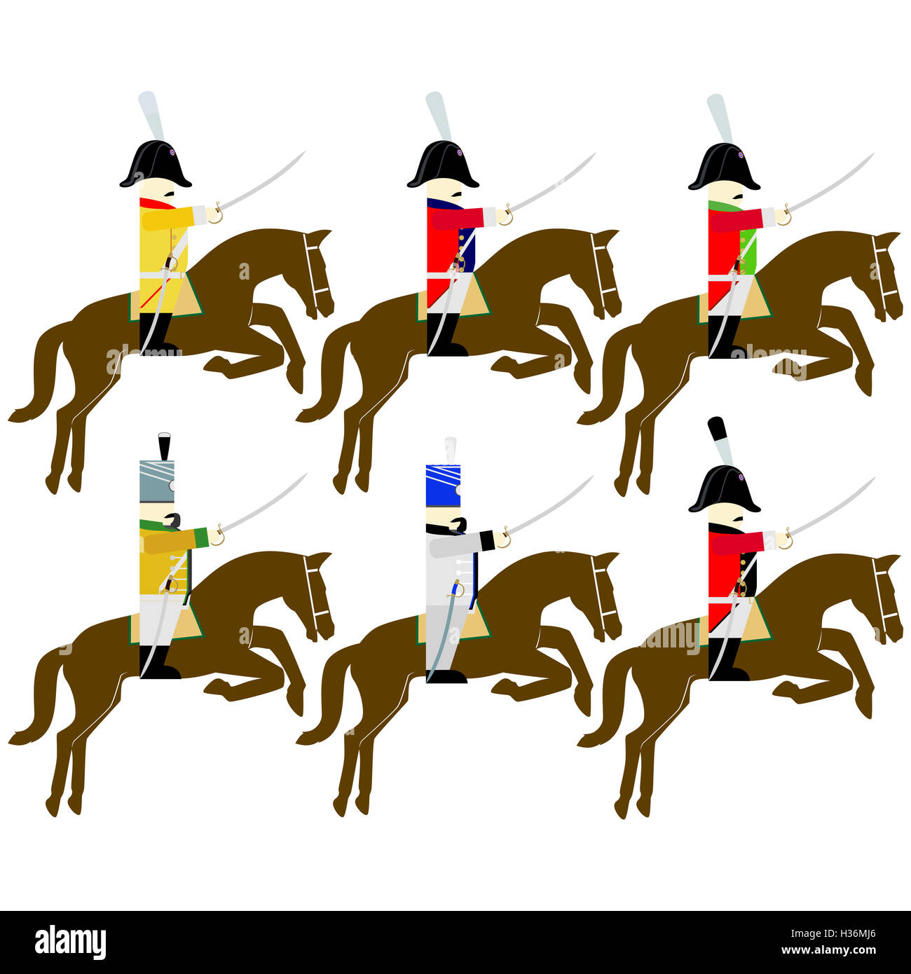 Soldiers of the army of Saxony in uniforms and weapons were used in the 1812 war. The illustration on a white background. - Stock Image