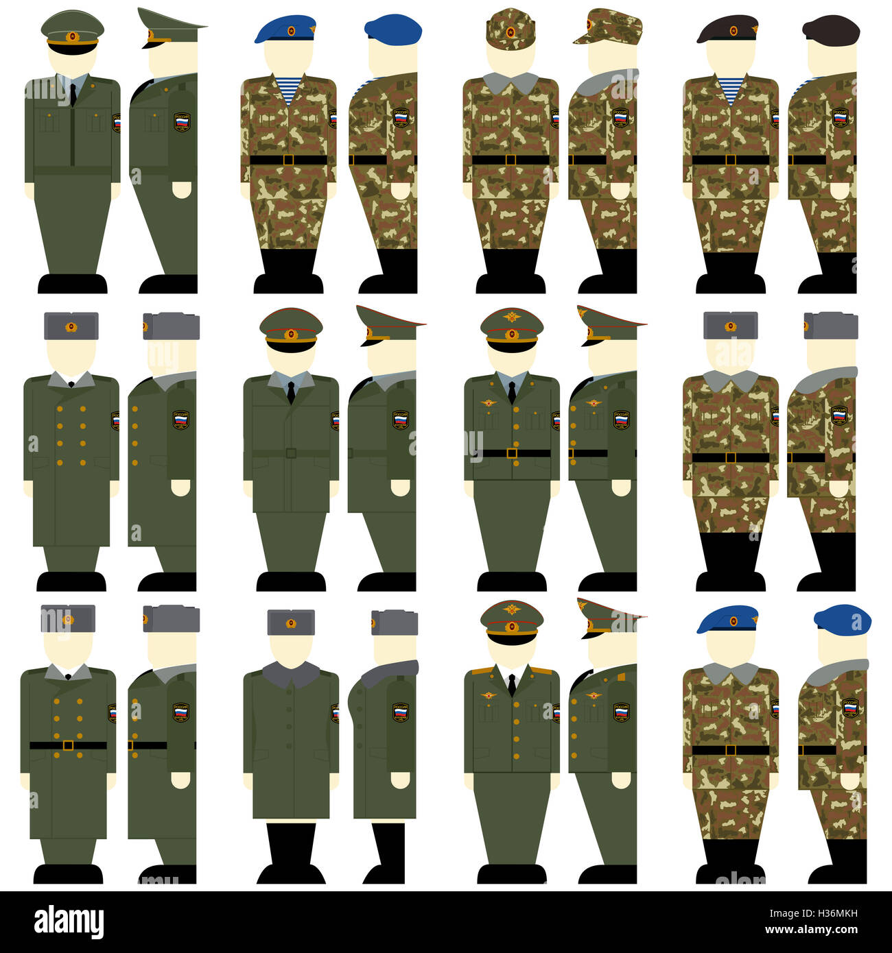 d801ab614f5 Uniforms and insignia of soldiers and officers of the Russian Federation.  The illustration on a