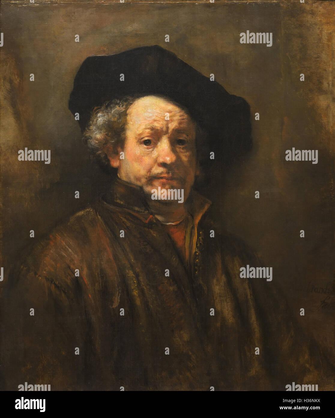 Rembrandt self-portrait, 1660 - Stock Image