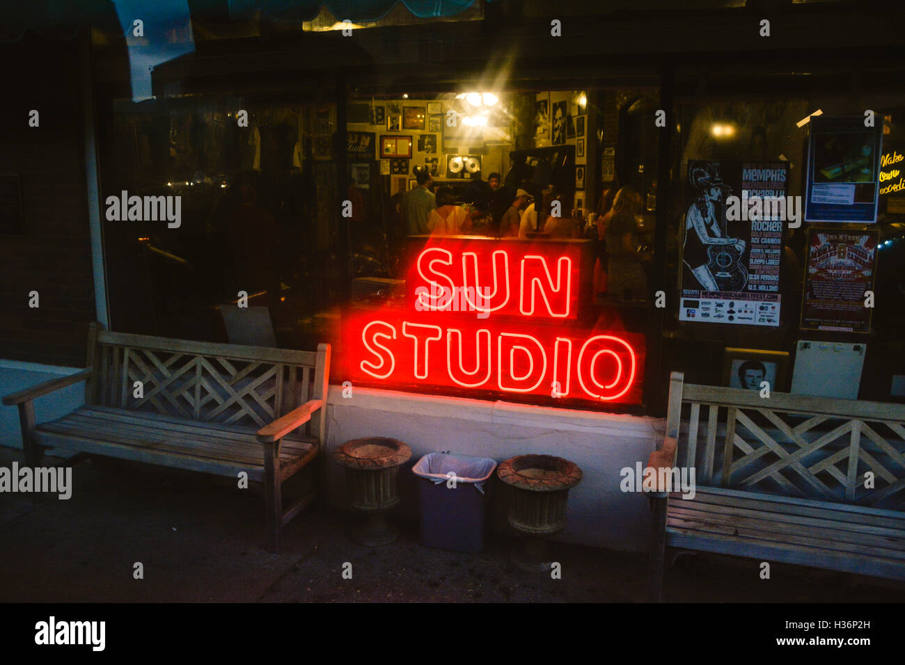 The exterior storefront of Sun Studio with red neon signage lights at evening in Memphis, TN - Stock Image