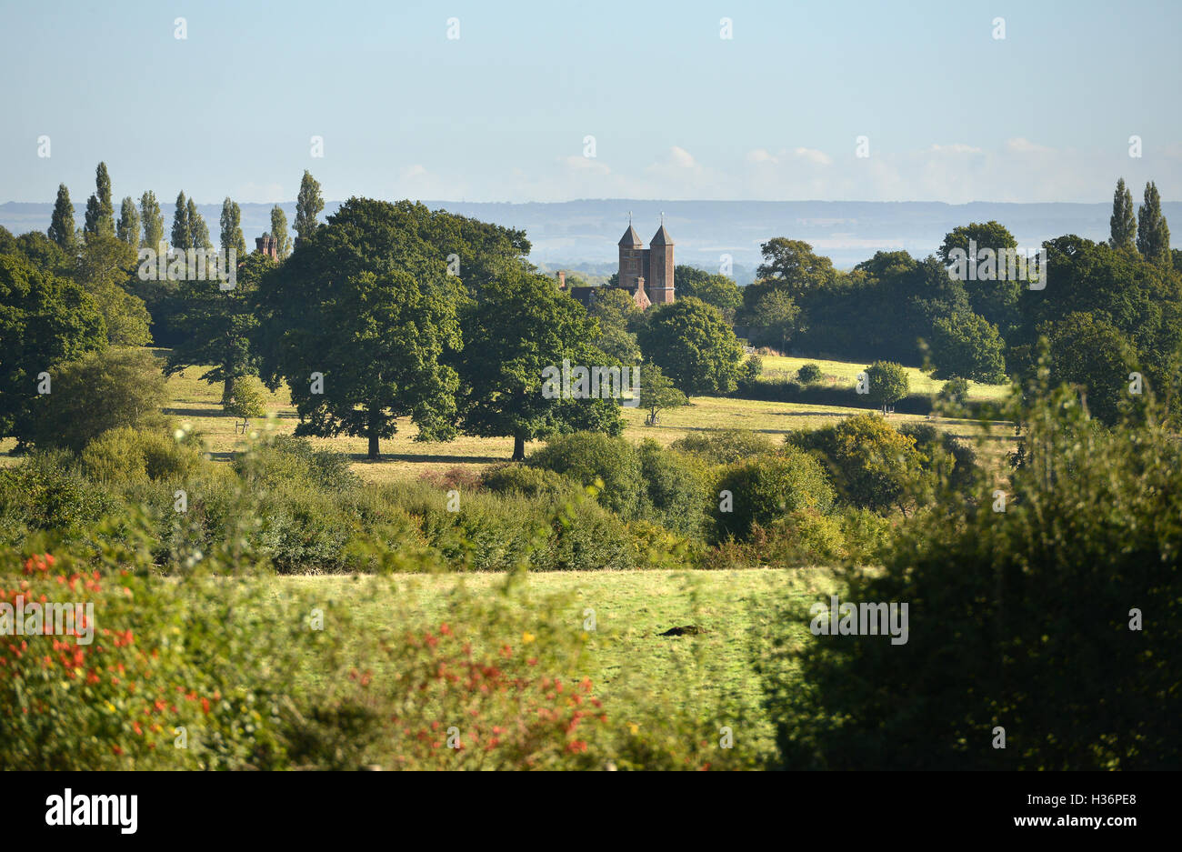 Long view of Sissinghurst Castle Kent, National Trust property once owned by Vita Sackville-West and Harold Nicolson - Stock Image
