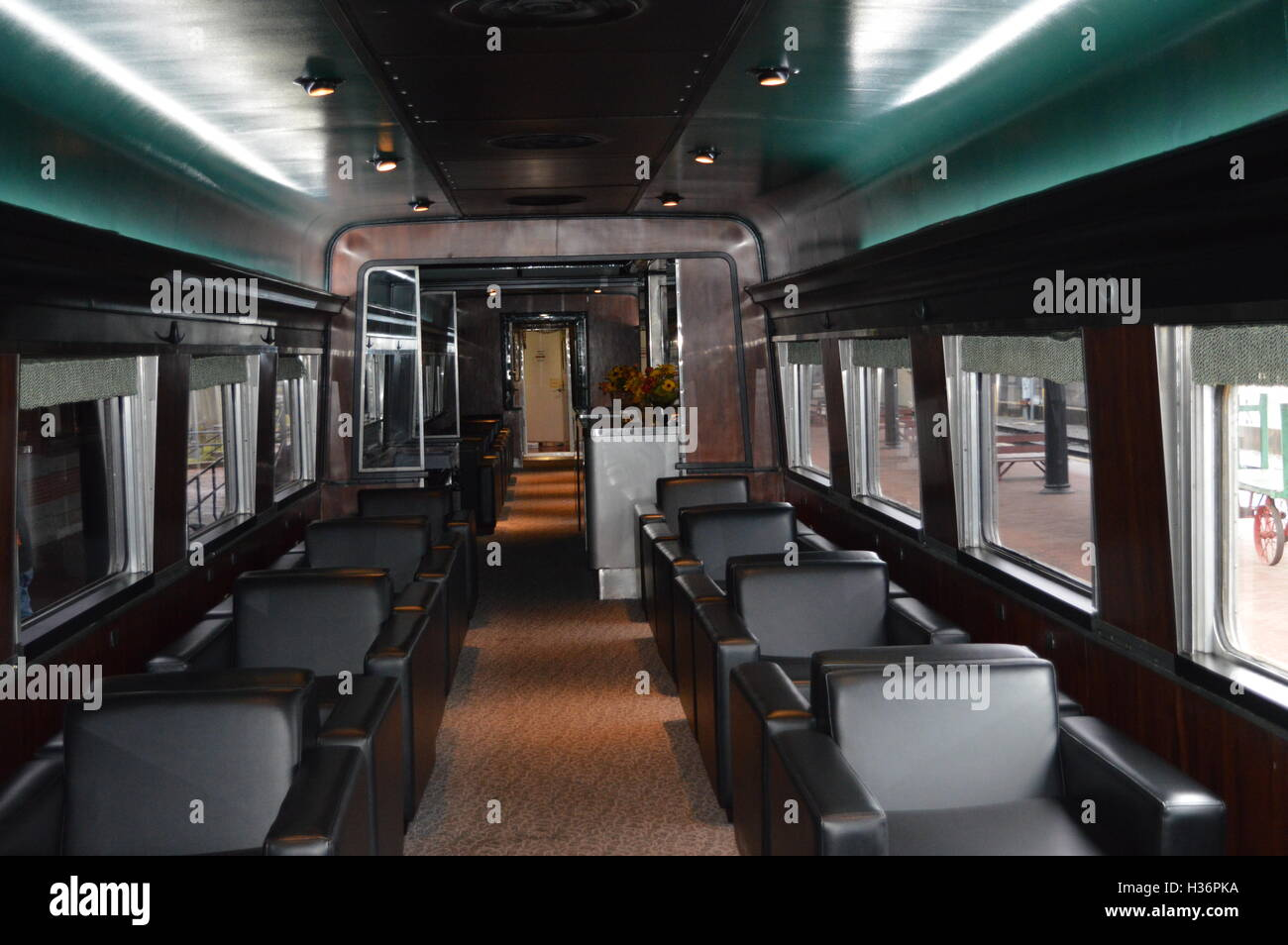 The lounge car on the Western Maryland Scenic Railroad in Cumberland, Alleghany County, Maryland, US - Stock Image