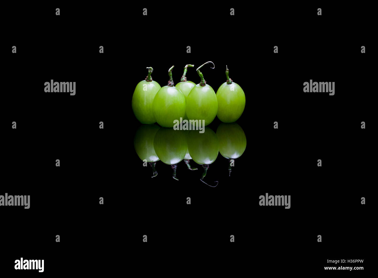 Five isolated grapes on black reflective background - Stock Image