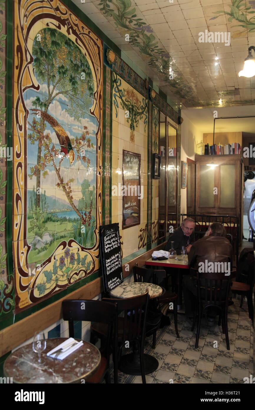 restaurant vivant with art nouveau style tiles decorations from a