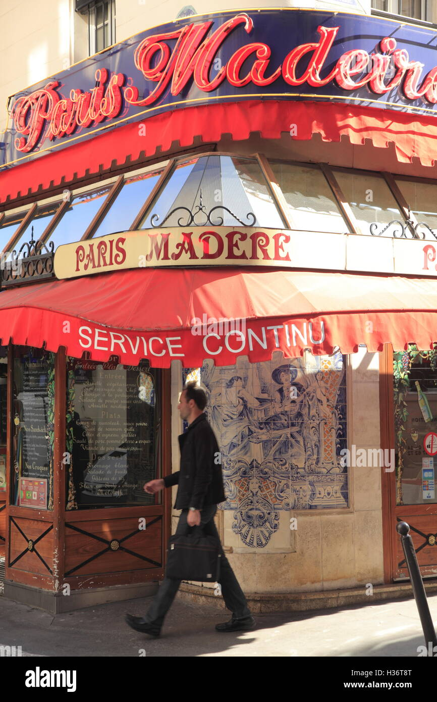A typical traditional looking Parisian Brasserie at 9th arrondissement. Paris. France Stock Photo