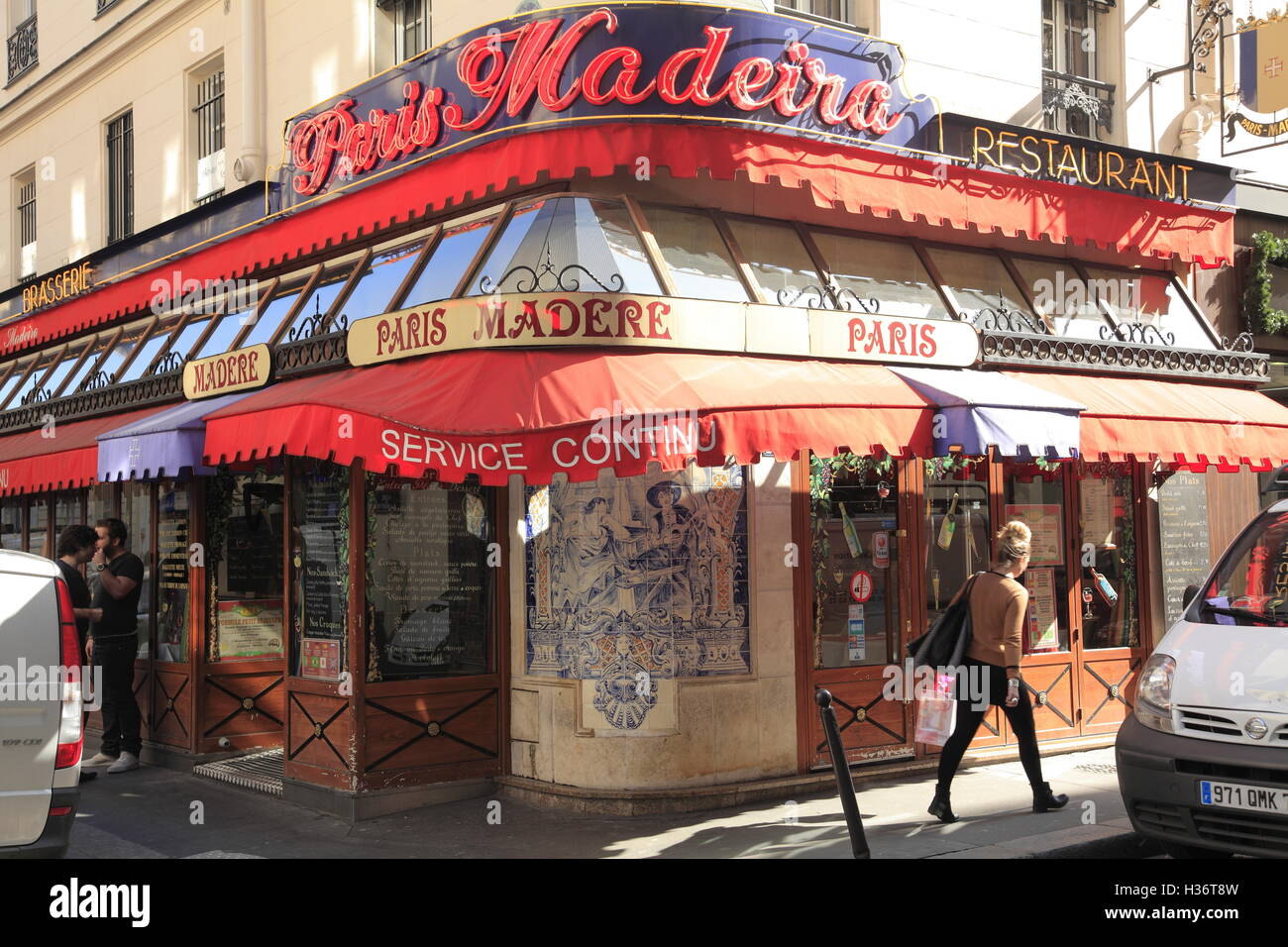 A typical traditional looking Parisian Brasserie at 9th arrondissement. Paris. France - Stock Image