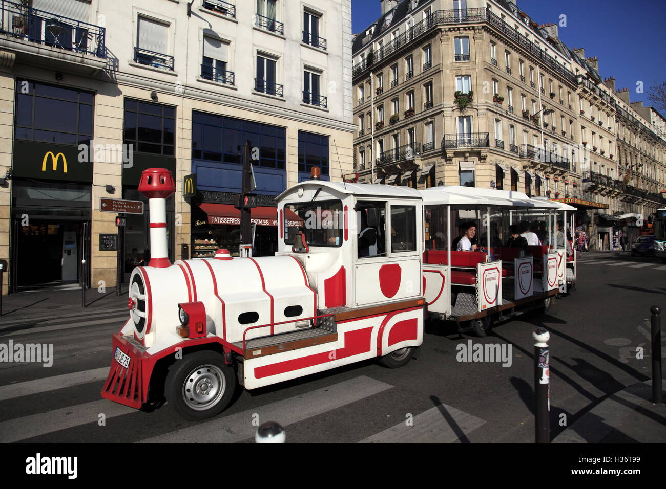 The tourist train Le Petit Train de Montmartre (the little train of Montmartre) at Montmartre district. Paris. France - Stock Image