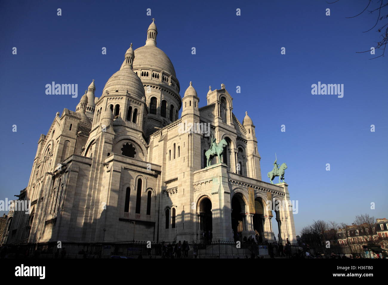 A closed up view of Basilica of the Sacre Coeur in Montmartre.Paris.France - Stock Image